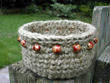 beaded jute basket
