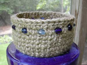 jute basket with blue glass beads