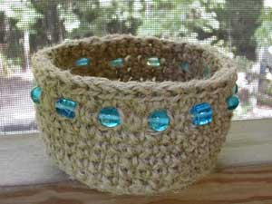 jute basket with turquoise glass beads