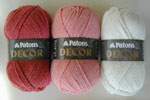 Patons Decor coralberry, pale coralberry, and aran